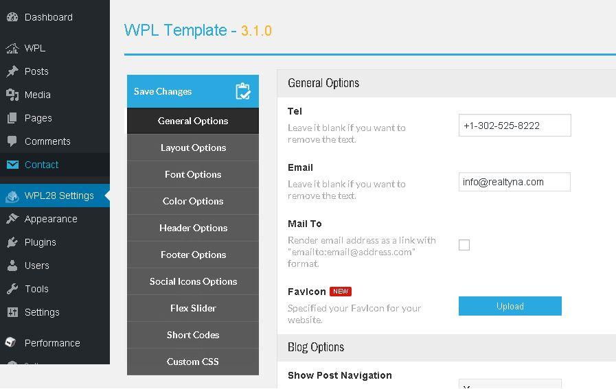 WPL Theme 28 setting